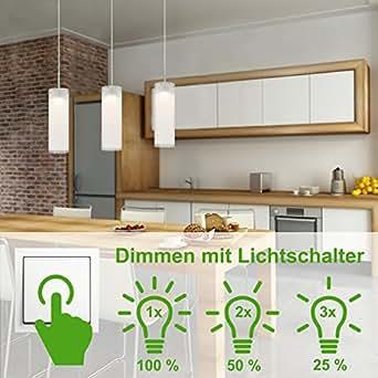 Briloner Leuchten LED Hänge- & Pendelleuchte, Deckenleuchte mit Dimmer 3-flammig, Esstisch & Esszimmer, Wohnzimmer- & Decken-Lampe, 5 W, Länge: 120 cm