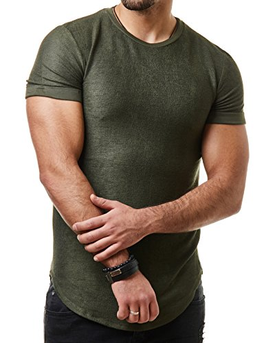 EightyFive Herren T-Shirt Long Oversized Shirt Basic Unifarben EF1208 Khaki