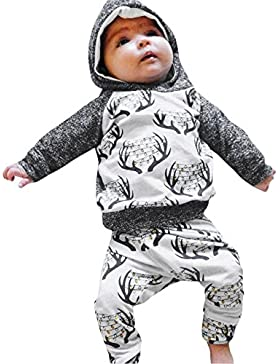 Amlaiworld winter bunt Flickwerk Kapuzenpullover Baby Weihnachten warm hosen langarm Säugling pullis Bekleidungssets...