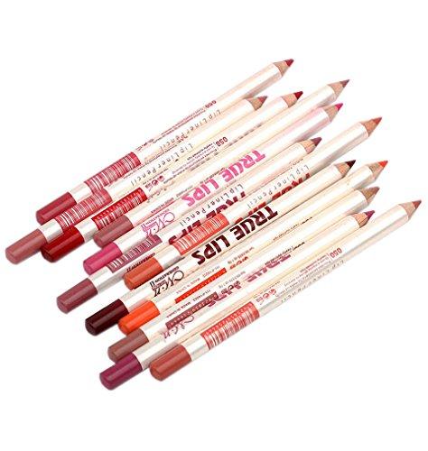 AKAAYUKO 12Pcs Lip Liner Maquillage Contours des Lèvres Crayon à lèvres les Yeux Eye-liner