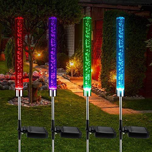 4 Stücke Solarlicht Gartenlampe Rasen,SolarlampenGarten Solar Leuchten Solarleuchte Aussen Boden Solarlampe Balkon Farbwechsel Solar Licht Led Garten Deko Solarlampe im Freien Außen-Gartenleuchte