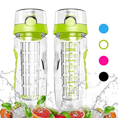 Balhvit Trinkflasche, 946ml/32oz [BPA Frei Tritan] Auslaufsicher Trinkflaschen Sport, Kunststoff Wasserflasche mit Fruchteinsatz & 1-click-öffnet Flip Top, Wasser Flasche Ca. 1L, Sportflasche Kinder (GRÜN)