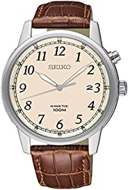 Seiko Kinetic Leather Strap Watch for Men SKA779P