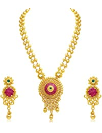 Sukkhi Astonish Jalebi Gold Plated AD Necklace Set For Women