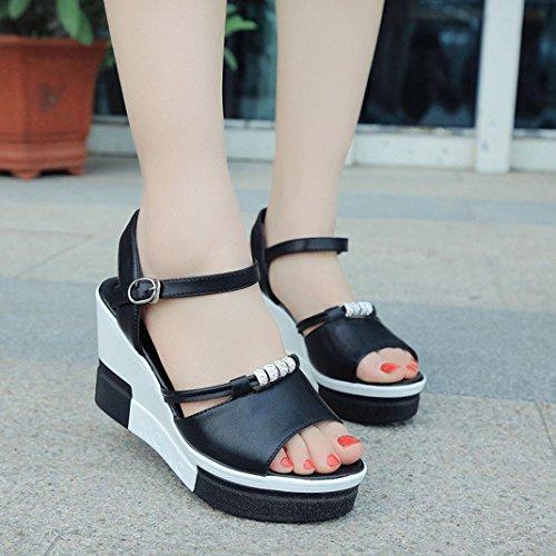 Transer ® Femmes Mesdames été Peep-toe haute sandales Noir