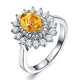 AmDxD 925 Silber Damen Ringe Blumen Trauringe Vertrauensring Silberring Silber mit Gelb Zirconia Gr.62 (19.7)