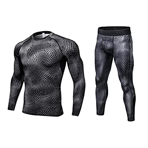 SANANG Herren Compression Trainingsanzug Fitness Engen Quick Dry Lauf Set T-Shirt Legging Sportswear Gym Sport Anzug