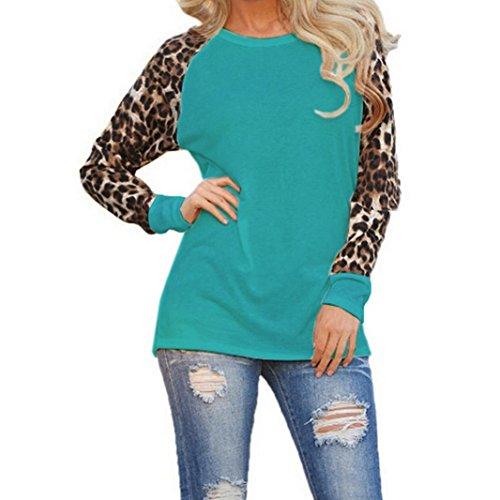 Btruely Damen Bluse Langarm Elegant Langarmshirt Übergröße T-Shirt Reteo Oberteil Sommer Tops Frühling Leopard Shirt (XL, Grün) (Leather Baggy Knit)