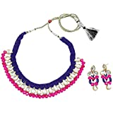 Fashionvalley Blue Jeko Moti Pink Crystal beads Kundan Necklace Set