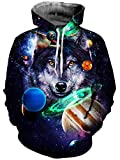Goodstoworld Galaxy Wolf Hoodie Herren Bunt 3D Oil Kapuzenpullover Unisex Herbst Langarm Pullover Sweatshirt Sport Kapuze Jersey