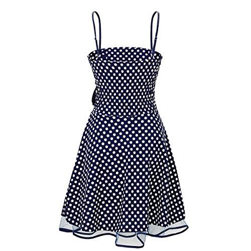 Laeticia Dreams Damen Kleid Petticoat Rockabilly S M L XL, Farbe:Blau/Weiß Punkte Klein;Größe:38 -