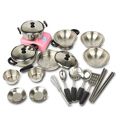Asdomo 20Pcs Kids Kitchen Cookware Playset Stainless Steel Pots and Pans with Cooking Utensils Set Pretend Kitchen Cooking Toys for Boys and Girls