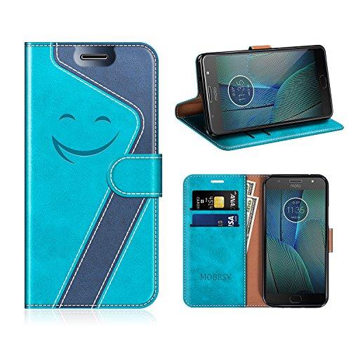 MOBESV Smiley Motorola Moto G5S Plus Hülle Leder, Motorola Moto G5S Plus Tasche Lederhülle/Wallet Case/Ledertasche Handyhülle/Schutzhülle für Motorola Moto G5S Plus, Aqua/Dunkel Blau