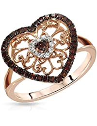 RG Jewellery-14k-Rose-Gold-Plated-Cubic -Zirconia-925-Sterling-Silver-Accent-Heart-Beautifull-Ring