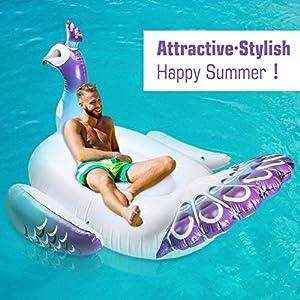 HeySplash Riesige aufblasbare Schwimmen, Pool Float Peacock Fahrt auf Pool Floß Schwimmende Liege Sitz Boot mit Flügeln Griffe für Kinder & Erwachsene - Bunte