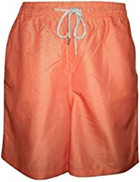 c8db8e79f3621 Kirkland Signature Mens Swim Shorts Orange with Fine Stripe Design Mesh  Lined