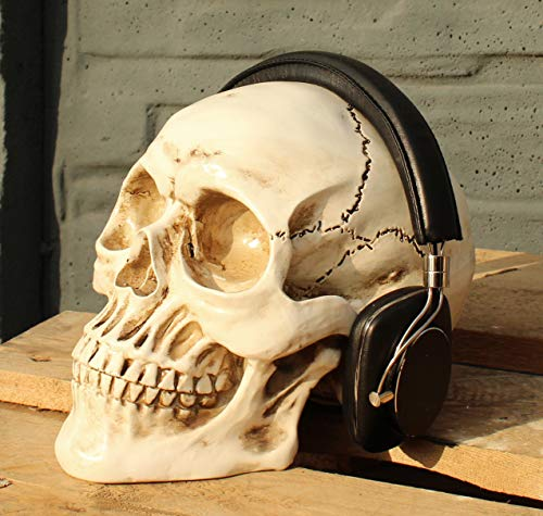 Totenkopf weiss Kopfhörerständer Skull Totenschädel
