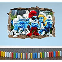 3D The Smurfs Smashed Breakout Wall Stickers Boys Girls Bedroom - Extra Large Landscape 100cm (w) X 70cm (h) preiswert