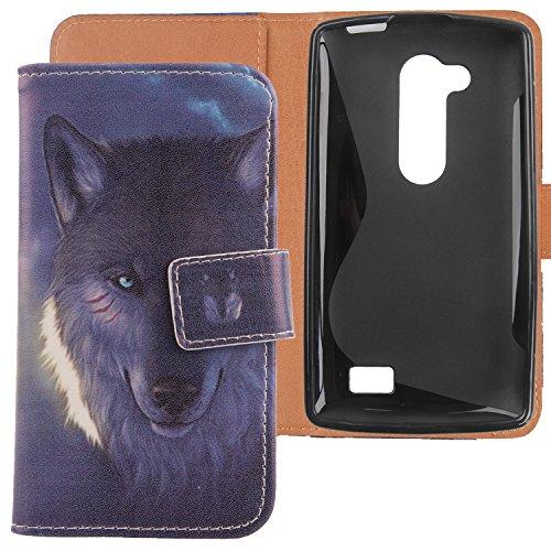 Lankashi PU Flip Leder Tasche Hülle Case Cover Handytasche Schutzhülle Etui Skin Für LG L Fino Dual D295 D290N Wolf Design
