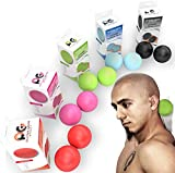 Physix Gear Sport Lacrosse Ball Set of 2 - Best Deep Tissue Massage Balls for Trigger Points, Plantar Fasciitis Neck & Back Pain - Roller for Rehab, Acupressure Foot Reflexology & Myofascial (GRN 2PK)