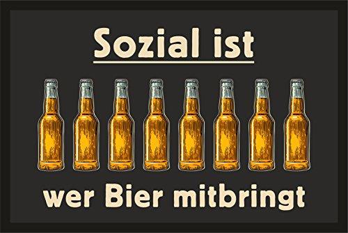 RAHMENLOS Fußmatte Türmatte Schmutzfangmatte: Sozial ist, wer Bier mitbringt 232