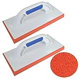 2er Set DEWEPRO® Reibebrett (PS) mit harter Gummischwamm-Auflage (20mm) - 280x140mm - Schwammscheibe - harter Schwammgummi