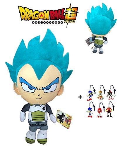 PBP Dragon Ball Super - Peluche Vegeta Ultra Istinto, capelli blu 30cm Qualità super soft + 1 portachiavi casuale Sonic