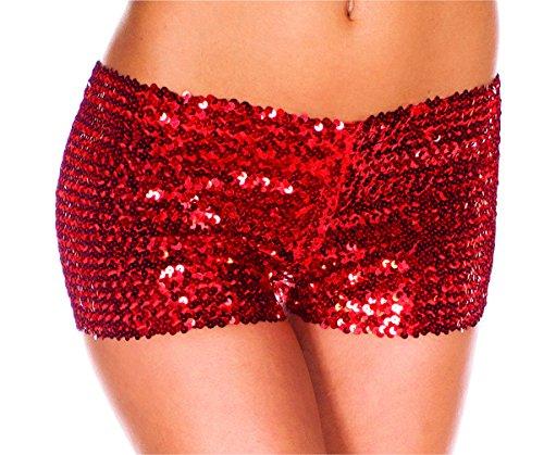 etten Damenmode Shorts (M, rote) (Rote Pailletten-shorts)