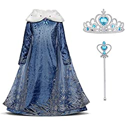 URAQT Vestido Princesa Disfraz Traje Parte Disfraces Las Niñas Vestido, Cosplay de Disney Disfraz de Halloween, Cumpleaños, Carnaval y la Fiesta, 120cm