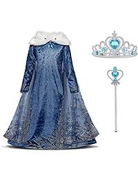 URAQT Mädchen Kostüm Eiskönigin ELSA Kleid mit Umhang, Kinder Prinzessin Kleid Cosplay Kostüme, Kinder Verkleidung Party Weihnachten Halloween Fest, Paket Beinhaltet Kleid Krone Zauberstab