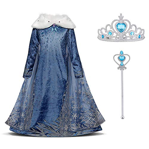 Uraqt snow queen elsa frozen vestito set, winter party princess dress costume con colletto in peluche per 6-7 anni