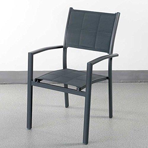 Table à manger Martha et 6 Chaises Milly - GRIS | Table en aluminium de 200cm - design table de pique-nique avec pieds croisés