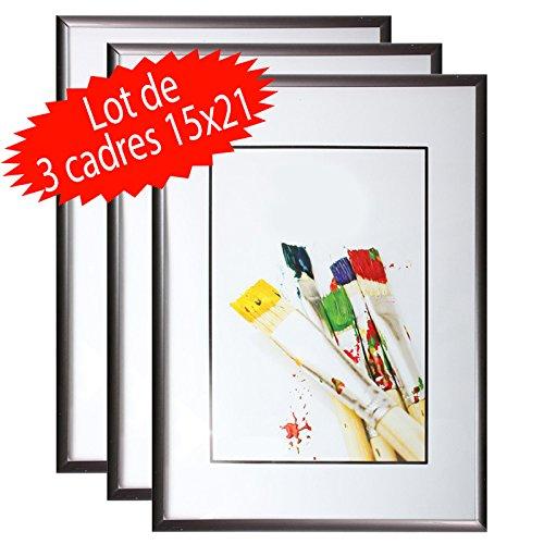 Lot de 3 cadres photo 15x21 cm (Noir) - Cadre photo en résine avec vitre en verre de protection - Livré avec pied chevalet, cadre à poser sur un meuble, un bureau....