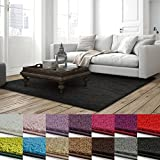 casa pura Shaggy Teppich Barcelona | weicher Hochflor Teppich für Wohnzimmer, Schlafzimmer, Kinderzimmer | GUT-Siegel & Blauer Engel Größen | 100x150 cm | Schwarz