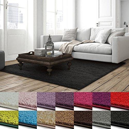 Shaggy Teppich Barcelona | weicher Hochflor Teppich für Wohnzimmer, Schlafzimmer und Kinderzimmer | mit GUT-Siegel und Blauer Engel | verschiedene Größen | viele moderne Farben | 100x150 cm | Schwarz