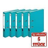 Herlitz 10200301 Ordner maX.file protect 5er-Pack (A4, 5 cm, mit Einsteckrückenschild) türkis