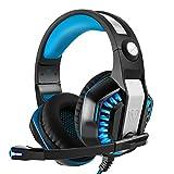 DIZA100 Gaming Headset Rauschunterdrückung Kopfhörer mit Mikrofon Lautstärkeregelung und LED-Licht Xbox One Headset für PS4, PC, Mac, Computer -Blau