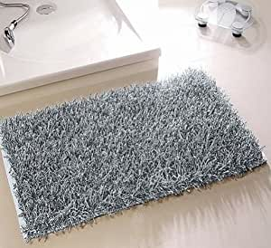 langflor zottel teppich f r bad und wohnraum 60x100 cm waschbar silber k che haushalt. Black Bedroom Furniture Sets. Home Design Ideas