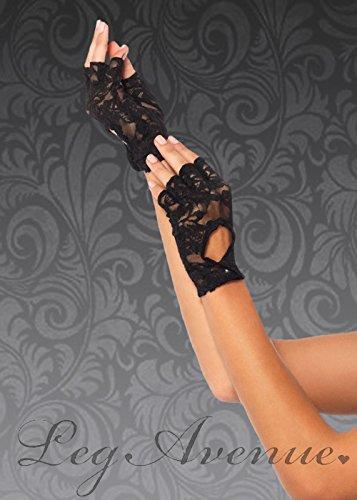 Struts Fancy Dress Deluxe 80 s Black Lace Fingerlose ()