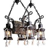 Pumpink Lampada a sospensione regolabile in ferro di ferro di canapa della lega dell'annata Legno americano Tradizione rurale Lampadario a bruciolo di cherosene Lampada a sospensione di stile sudorientale retro Lampada da parete di lanterna di Nostalgia per il bar del corridoio del ristorante