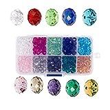 DIYARTS 10 Colori Creazione di Gioielli Fai da Te Perline di Vetro Kit di Colore Sfaccettato Forma Perline di Cristallo Seme Gioielli Trovare Tubo Telefono Appeso A Mano Ornamento Perlina (8mm)
