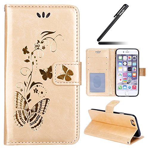 Ukayfe Coque Etui pour iPhone SE/5S/5, iPhone SE Coque en Cuir Flip Etui Housse, iPhone 5S/5 Coque de Protection Folio Bookstyle Housse, Etui de Protection PU Cuir Portefeuille Dandelion Relief gaufra Bronzante Papillon-d'or