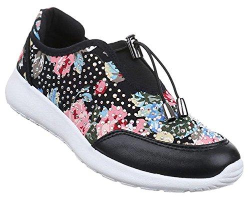 Damen Schuhe Sneakers Sportschuhe Turnschuhe Freizeitschuhe Schwarz Multi 40 uk8kR7nG