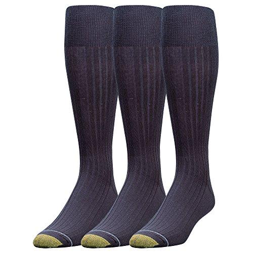 Gold Toe Herren Socken mit Goldfarbenen Zehen, kniehoch, merscerizierte Baumwolle, 3 Paar (Spandex-stretch-zehen-socken)
