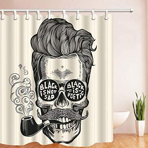 xuewu Vintage Gravur Bad Vorhang Hipster Schädel Silhouette mit Schnurrbart Polyester Stoff wasserdicht Duschvorhang für Badezimmer