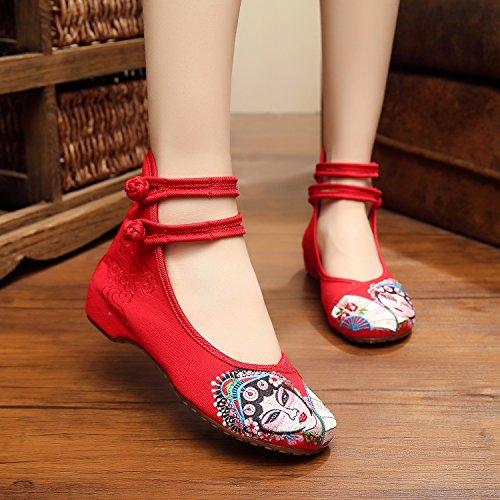 MN Peking Opera Gestickte Schuhe, Sehnensohle, ethnischer Stil, Femaleshoes, Mode, bequeme Segeltuchschuhe Red