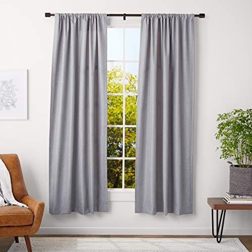 AmazonBasics - Barra para cortinas con remates con tapas, 91-182 cm, Bronce