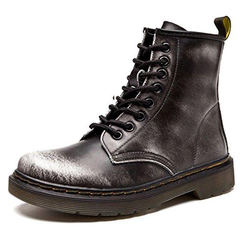 ukStore Damen Stiefel Derby Wasserdicht Kurz Stiefeletten Winter Herren Worker Boots Profilsohle Schnürschuhe Schlupfstiefel,Warm gefüttert/Grau 38 EU, Herstellergröße 245/1.5