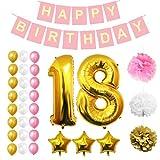 Geburtstag Luftballons Alles Gute zum Geburtstag Folienballons Party Zubehör Set & Dekorationen von Belle Vous - Folienballons - Geburtstag - Gold, Weiß und Pink -Ballon-Dekoration - Dekor für alle Kleinkinder geeignet (Age 18)