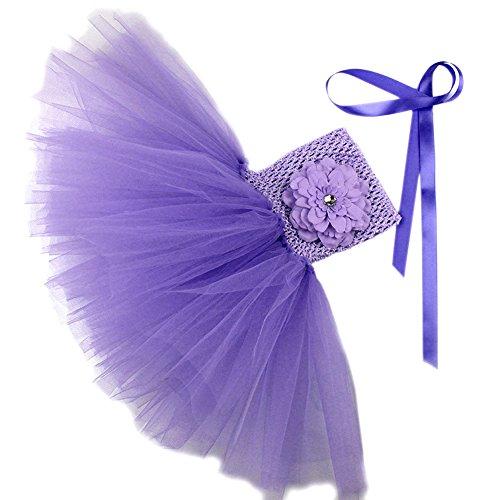 Honeystore Mädchen Spitze Prinzessin Rock Sommer Blumen Kleider für Baby Kleinkinder Kinder 0-2 Jahre alt Medium Lila mit (Teen Kostüme Elsa)